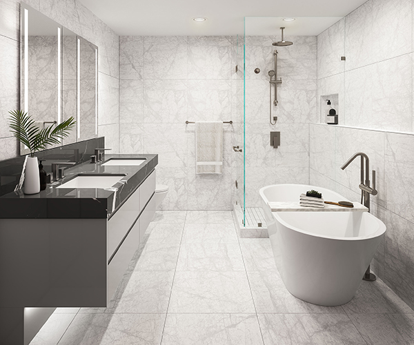 Bathroom Rendering for Cambie Garden Project, By ONNI Group, Vancouver BC