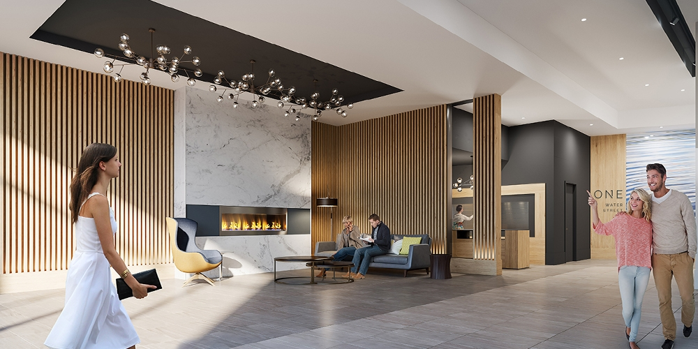 Lobby Rendering for One Water Street Project, Kelowna BC